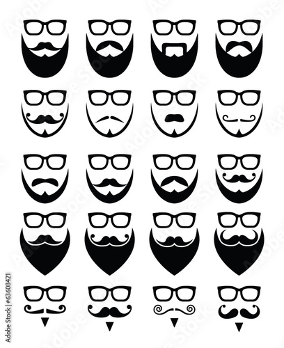 Beard and glasses, hipster icons set