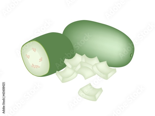 Fresh Wax Gourd on A White Background