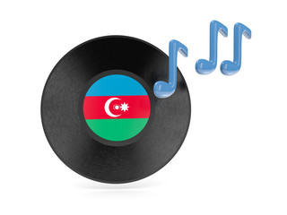 Vinyl disk with flag of azerbaijan