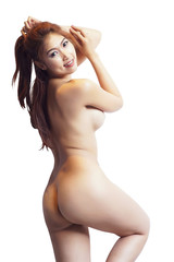 Beautiful sexy naked women stand Isolated