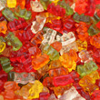lots of  colorful haribo bear candies closeup