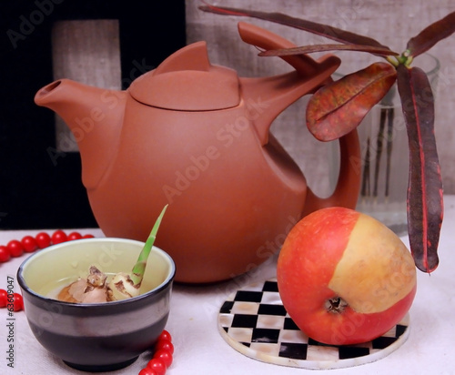 Still life with an earthenware teapot