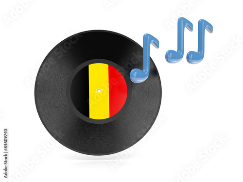 Vinyl disk with flag of belgium