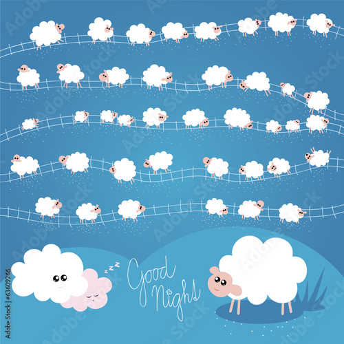 Good Night Vector Illustration for Kids with Individual Sheeps