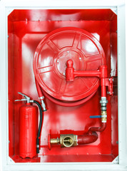 Red fire extinguisher and fire protect equipment