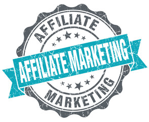 Affiliate marketing blue grunge retro style isolated seal