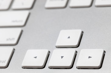 close up of a white keyboard english alphabet