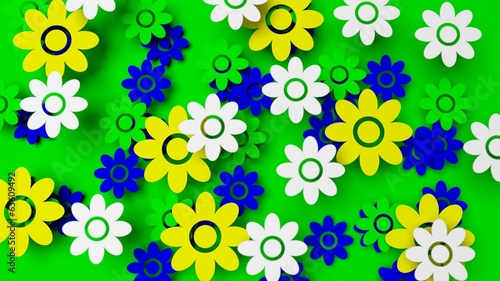 Colorful field with flowers on green background