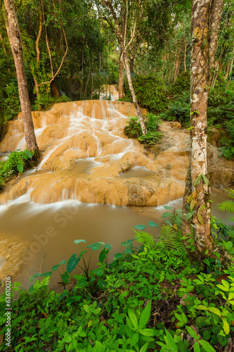 Waterfall in deep rain forest