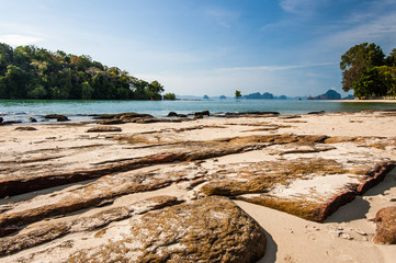 View from rocky beach in southern Thailand