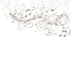 Hintergrund in beige mit Noten und Ornamenten