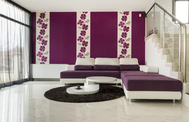 modern living room with  tiled floor