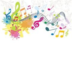 bunter musikalischer Hintergrund mit Ornamenten