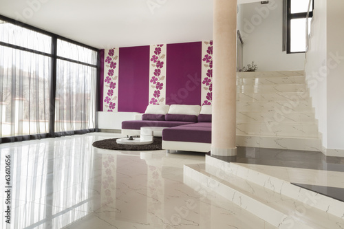 modern living room with  tiled floor