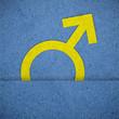 Male symbols on blue paper texture