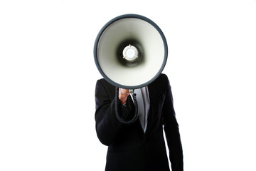Businessman with megaphone standing