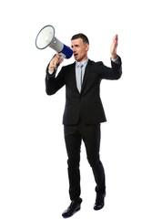 businessman yelling through megaphone