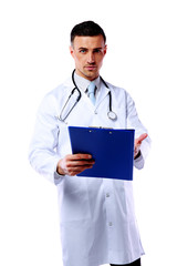 Confident male Doctor standing with clipboard