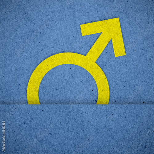 Male symbols on blue paper texture