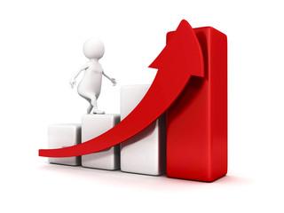 3d white business man climbing up bar graph and growing arrow