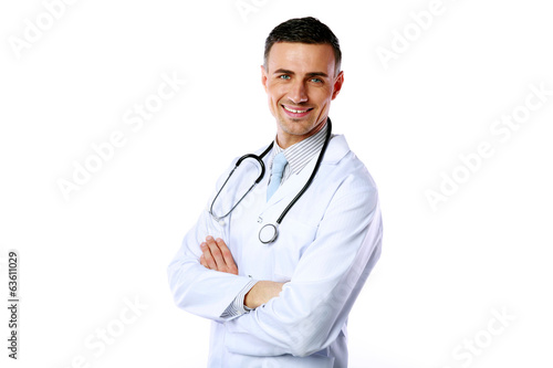Portrait of a smiling male doctor with arms folded