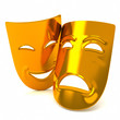Golden classic comedy-tragedy theater masks, 3d