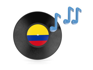 Vinyl disk with flag of colombia