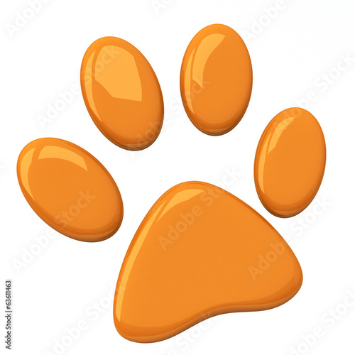 Orange pet paw, 3d