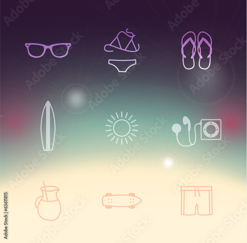hipster summer set of icons. colorful poster background.