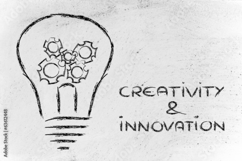 creativity and innovation, lightbulb with gearwheels