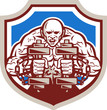 Strongman Lifting Dumbbells Shield Retro