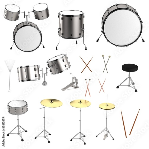 realistic 3d render of drum set