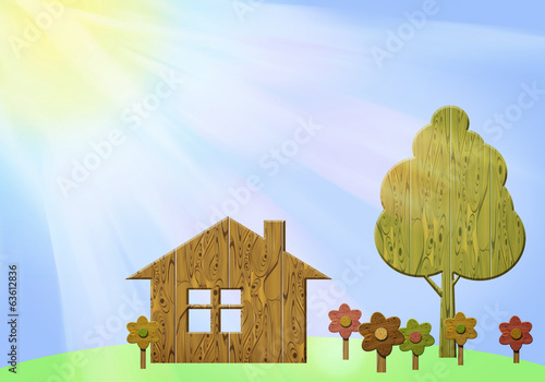 Illustration of summer landscape with wooden figurines