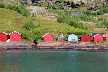 Coloured boat  houses of Fugløya
