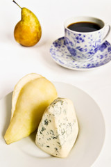 Tasty snack with blue cheese and fresh pear
