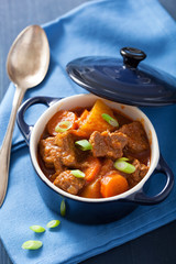 beef stew with potato and carrot in blue pot