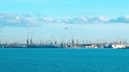 Cargo port. St Petersburg. Russia. timelapse
