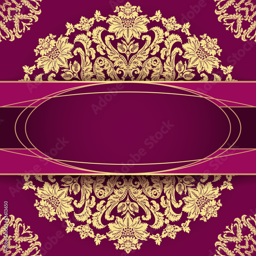 Vintage background with baroque floral frame