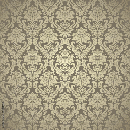 Beautiful gold damask seamless pattern background
