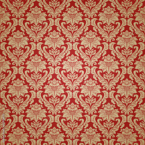 Beautiful red damask seamless pattern background