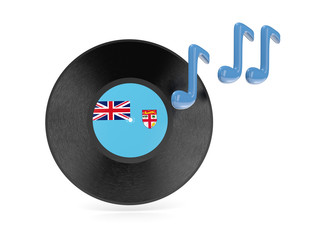 Vinyl disk with flag of fiji