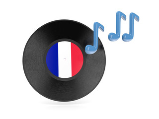 Vinyl disk with flag of france