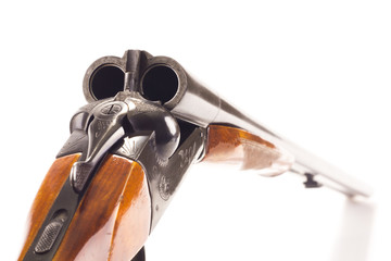 Opened double-barrelled hunting gun