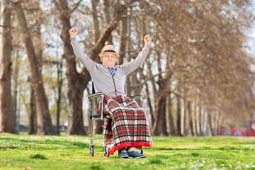 Elderly gentleman gesturing happiness in park