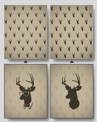 deer head seamless pattern