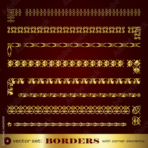 Borders with corner elements in gold - set 4