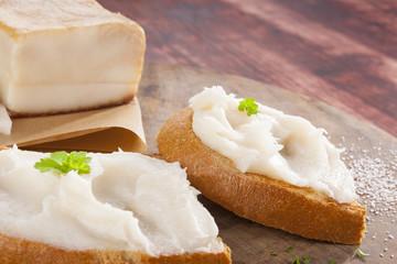 Bread slice with lard.