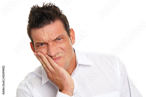 Man holding your face because suffering from a toothache