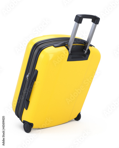 Yellow Suitcase isolated II. Clipping path