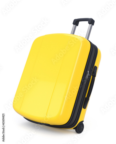 Yellow Suitcase isolated. Clipping path